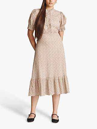 Ghost Ginny Ditsy Floral Midi Dress, White Floral