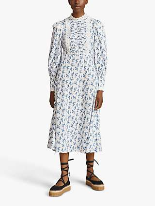 Ghost Ashton Floral Print Embroidered Lace Dress, White/Multi