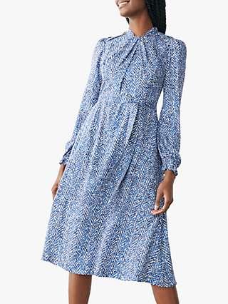 The Fold Haslemere Herringbone Dress, Blue/Multi