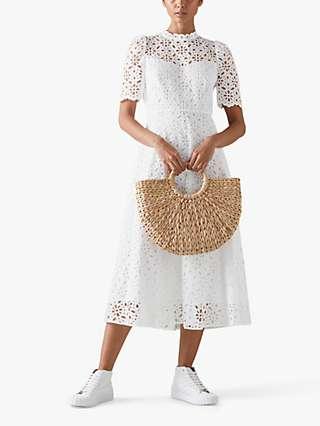 L.K.Bennett Honor Broderie Anglaise Midi Dress, White