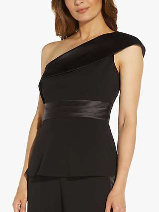 Adrianna Papell Crepe One Shoulder Tuxedo Top, Black
