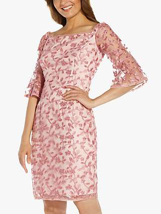 Adrianna Papell Metallic Floral Embroidery Tailored Dress, Blush