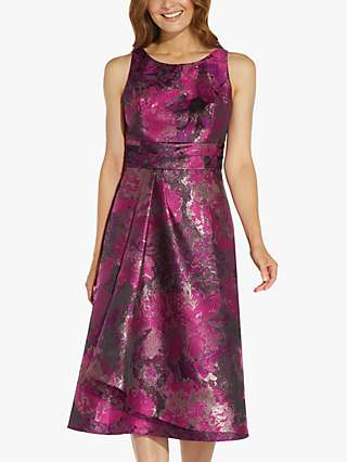 Adrianna Papell Floral Jacquard Midi Dress, Magenta/Orchid