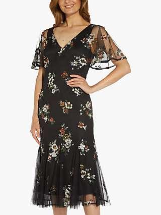 Adrianna Papell Godet Floral Sequin Midi Dress, Black/Multi