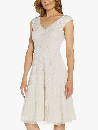 Adrianna Papell Floral Bead Cocktail Dress, Ivory