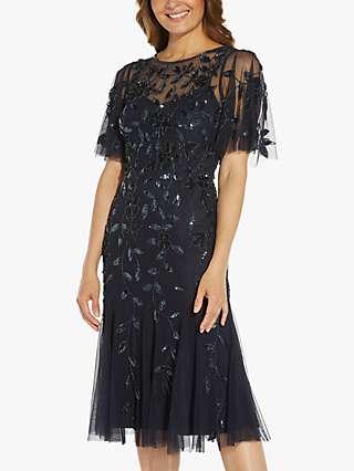 Adrianna Papell Beaded Midi Dress, Twilight