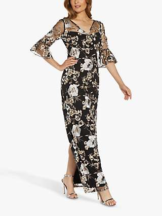 Adrianna Papell Flower Embroidery Tailored Gown, Black/Multi