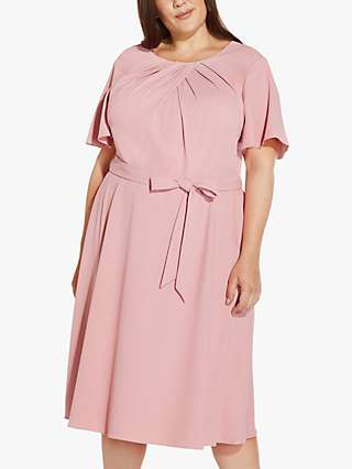 Adrianna Papell Plus Size Draped Belted Dress, Smoky Rose