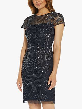 Adrianna Papell Short Embellished Cocktail Dress, Midnight