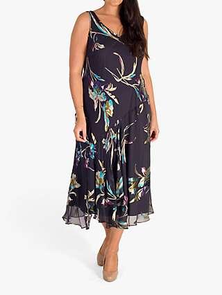 Chesca Devoree Floral Print Midi Dress, Pewter/Turquoise