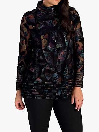 Chesca Rainforest Leather Jacket, Black/Multi