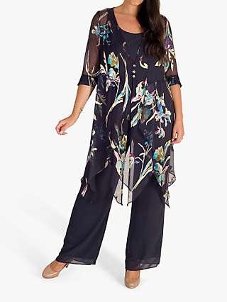 Chesca Devoree Pixie Floral Chiffon Coat, Pewter/Turquoise