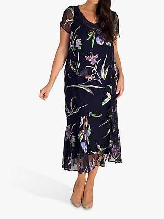 Chesca Iris Print Satin Devoree Midi Dress, Navy/Multi