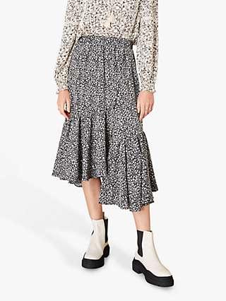Monsoon Ditsy Print Midi Skirt, Black