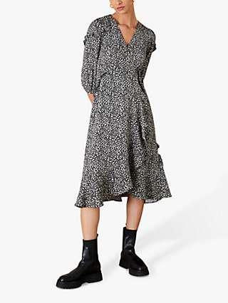 Monsoon Ditsy Floral Print Dress, Black