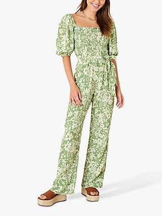 Monsoon Julia Floral Print Jumpsuit, Green
