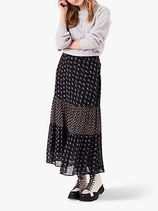 Brora Patchwork Print Silk Maxi Skirt, Midnight