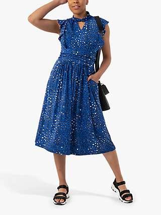 Jolie Moi Maahi Animal Print Ruffle Dress, Blue