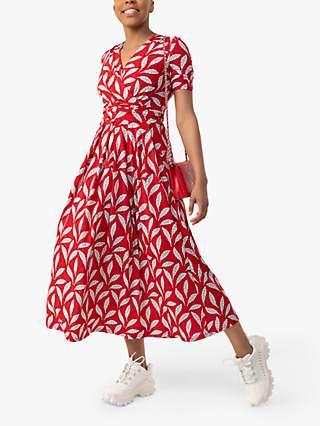Jolie Moi Coleen Leafy Print Maxi Wrap Dress, Red