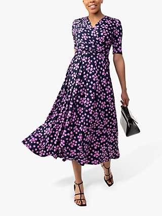Jolie Moi Coleen Spot Print Maxi Wrap Dress, Navy
