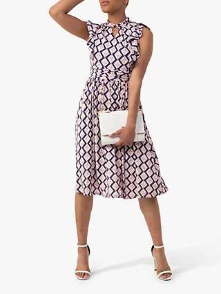 Jolie Moi Maahi Geometric Print Ruffle Dress, Pink/Blue