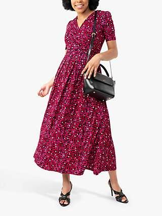 Jolie Moi Macara Animal Print Wrap Maxi Dress, Pink