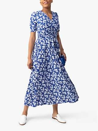 Jolie Moi Coleen Floral Print Maxi Wrap Dress, Blue