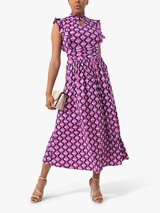 Jolie Moi Doris Frilly Geometric Print Wrap Maxi Dress, Pink