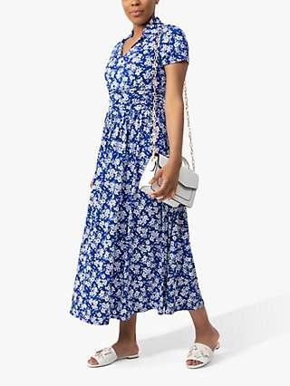 Jolie Moi Floral Print Marbouka Stand Collar Midi Dress, Blue/Multi