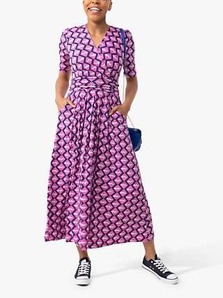 Jolie Moi Coleen Abstract Print Maxi Wrap Dress, Fuchsia