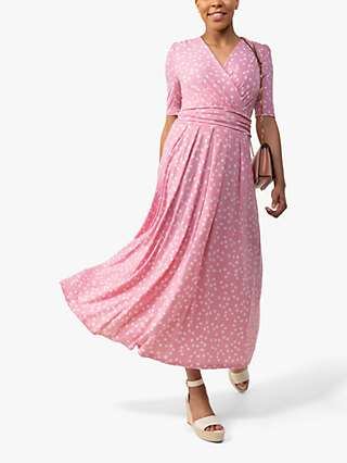Jolie Moi Coleen Polka Dot Print Maxi Wrap Dress, Pink