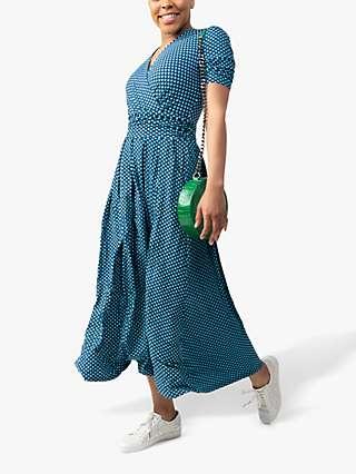 Jolie Moi Macara Spot Print Wrap Maxi Dress, Blue Geo