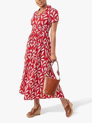 Jolie Moi Marbouka Leafy Print Midi Wrap Dress, Red