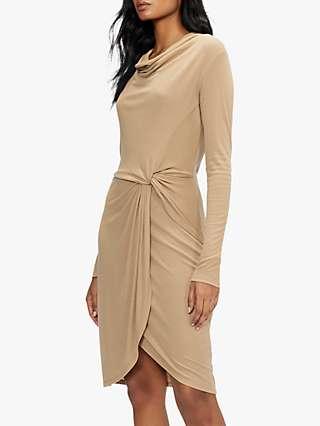 Ted Baker Neyda Long Sleeve Jersey Mini Dress, Camel