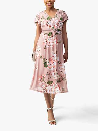 Jolie Moi Shirley Floral Print Mesh Midi Dress, Dusty Pink