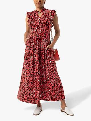 Jolie Moi Doris Frilly Animal Print Wrap Maxi Dress, Red