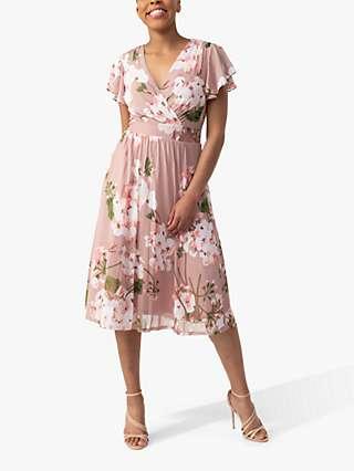 Jolie Moi Chailee Floral Print Mesh Wrap Dress, Dusty Pink