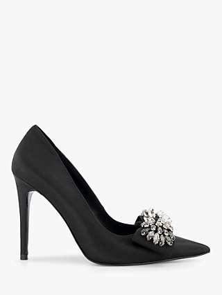Dune Bowes Satin Embellished Stiletto Court Shoes, Black