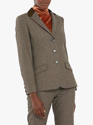 Helen McAlinden Micro Check Hacking Jacket, Brown/Multi