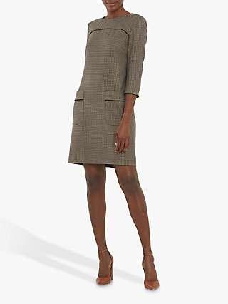 Helen McAlinden Cilla Micro Check Shift Dress, Brown/Multi