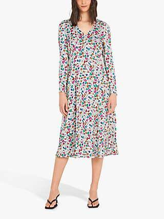Finery Molly Starla Spot Print Midi Dress, Cream/Multi