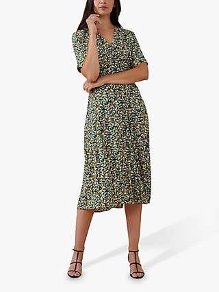 Finery Skylar Ditsy Floral Midi Dress, Green/Multi