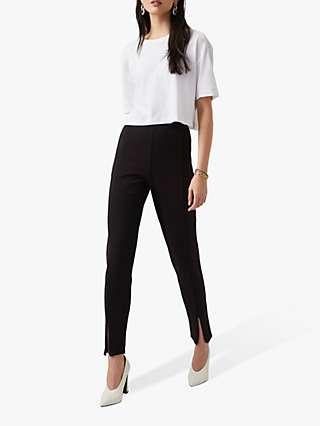 French Connection Stefanie Zip Detail Slim Trousers, Black