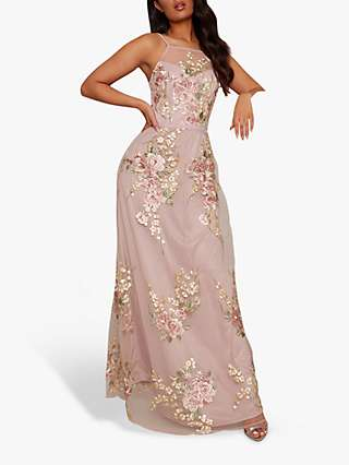 Chi Chi London Floral Embroidery Lace Maxi Dress, Beige/Multi