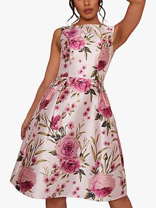 Chi Chi London Lia Rose Print Flared Dress, Multi