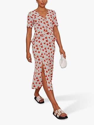 Chi Chi London Short Sleeve Ruffle Detail Floral Midi Dress, Cream/Multi