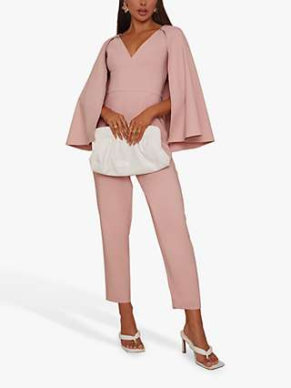 Chi Chi London Cape Detail Sleeve Jumpsuit, Dusty Pink