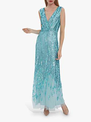 Gina Bacconi Nixie Sequin Maxi Dress, Turquoise