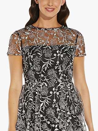 Adrianna Papell Floral Embroidered Midi Dress, Black/Multi