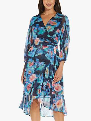 Adrianna Papell Abstract Floral Print Wrap Dress, Blue/Multi
